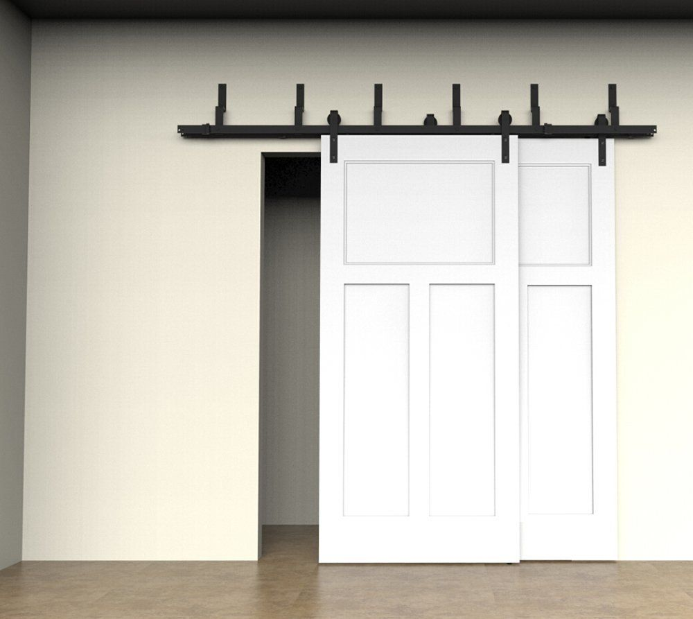 Overlapping Sliding Barn Doors Amazoncom 6ft 66ft 8ft Bypass Sliding Barn Wood Door Hardware