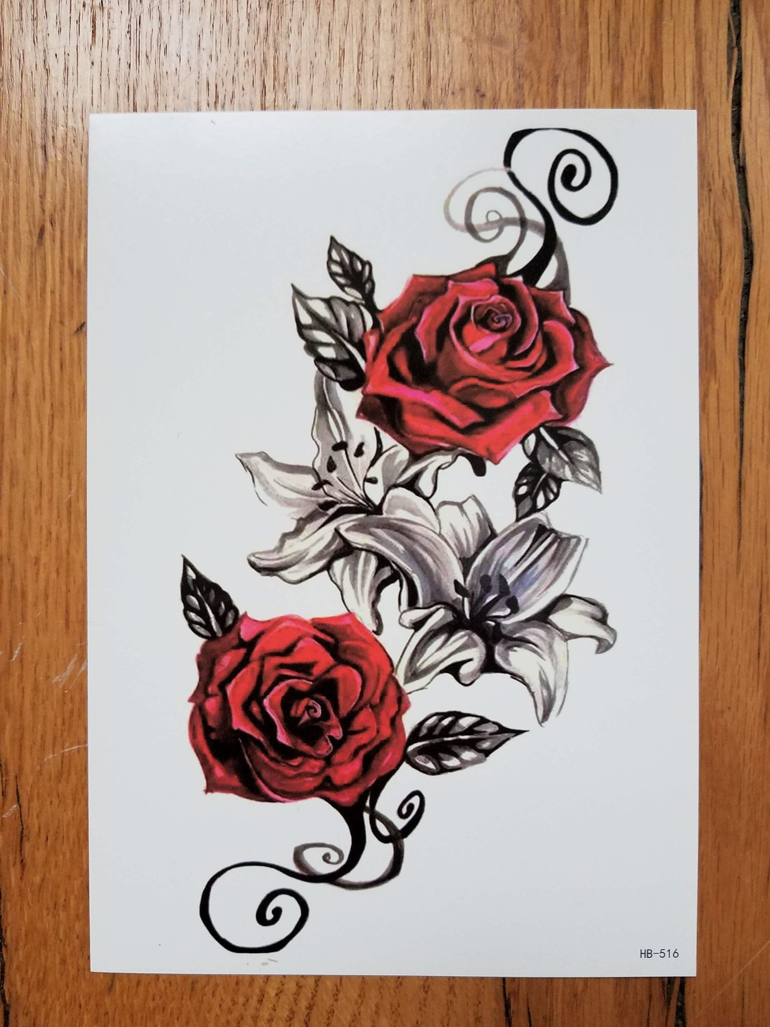 9cb552b95 Vintage Red Rose Temporary Tattoo | Stuff to buy | Fake tattoos ...