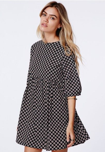 Agatha Oversized Smock Dress Daisy Print - Dresses - Missguided | Ireland