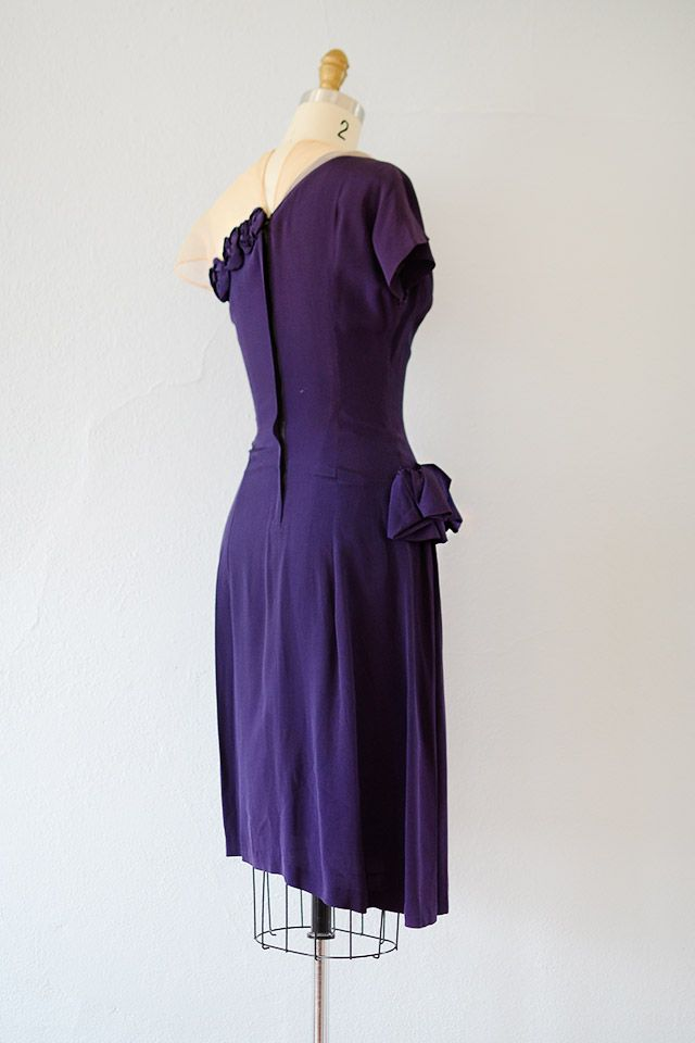 vintage 1940s royal purple drape cocktail dress | Vintage dress ...