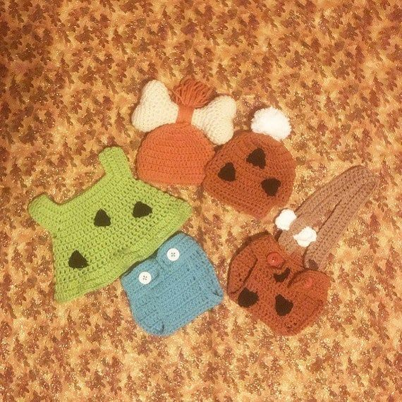 Crochet twin bambam and pebbles flintstone set