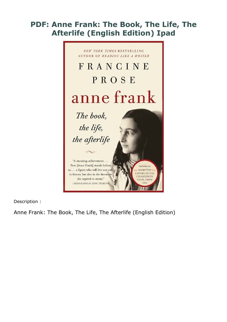 Pdf Anne Frank The Book The Life The Afterlife English Edition Ipad Anne Frank Books Book Lists