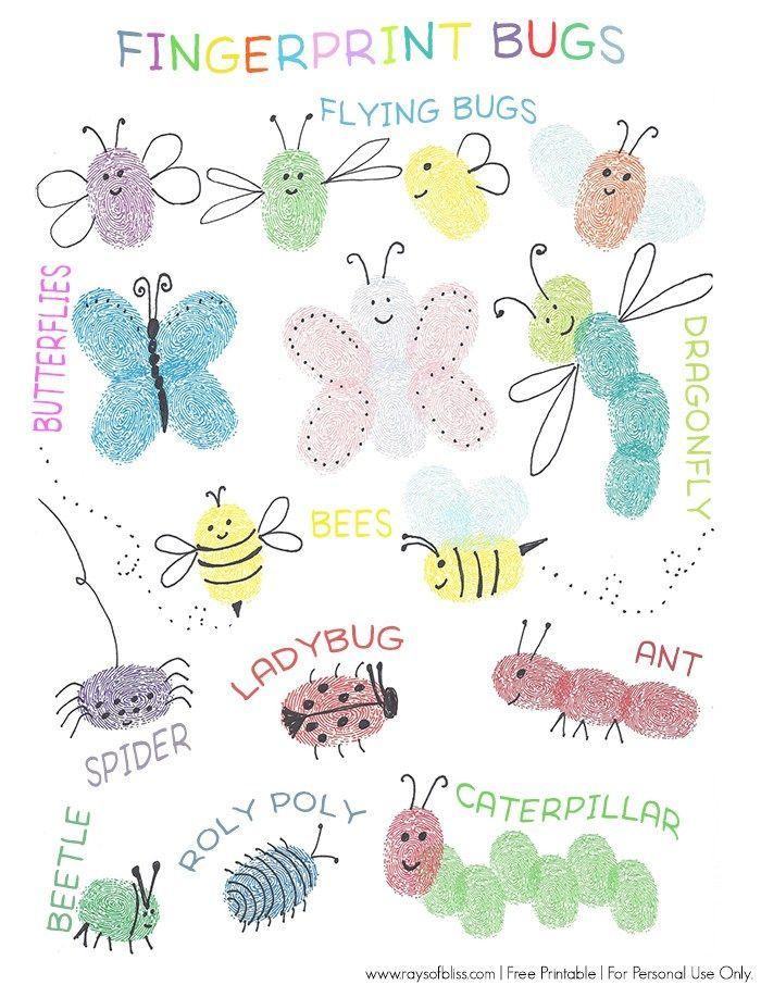 Bugs Fingerprint Art Free Printable Guide Kids Art Project ...