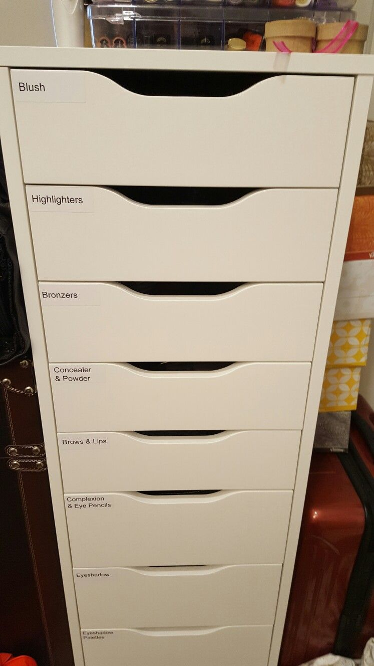 My Alex drawers from Ikea, labeled by product type | Makeup ...
