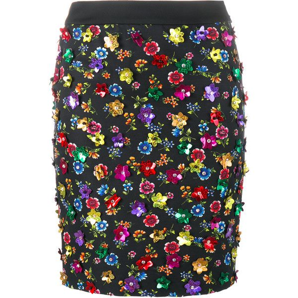 5bc7f08718 Moschino - floral embellished skirt ($930) ❤ liked on Polyvore featuring  skirts, multi colored skirt, multicolor skirt, floral printed skirt,  moschino and ...