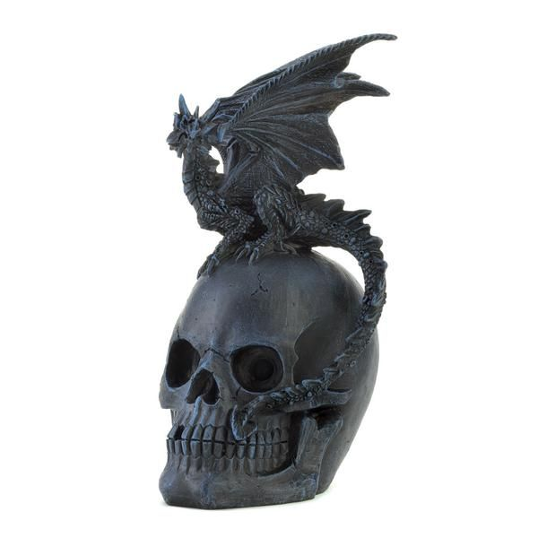 Dragon on a Skull Glass on Mirror Base Fantasy Collectibles Home Decor