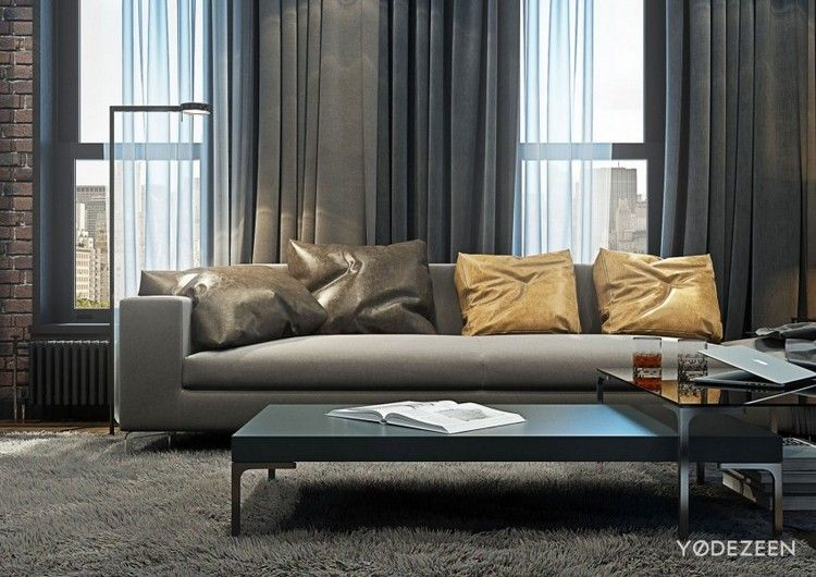 Moderne Einrichtung in Grau für einen jungen Mann in NYC #einen - graue moebel einrichtung modern ideen