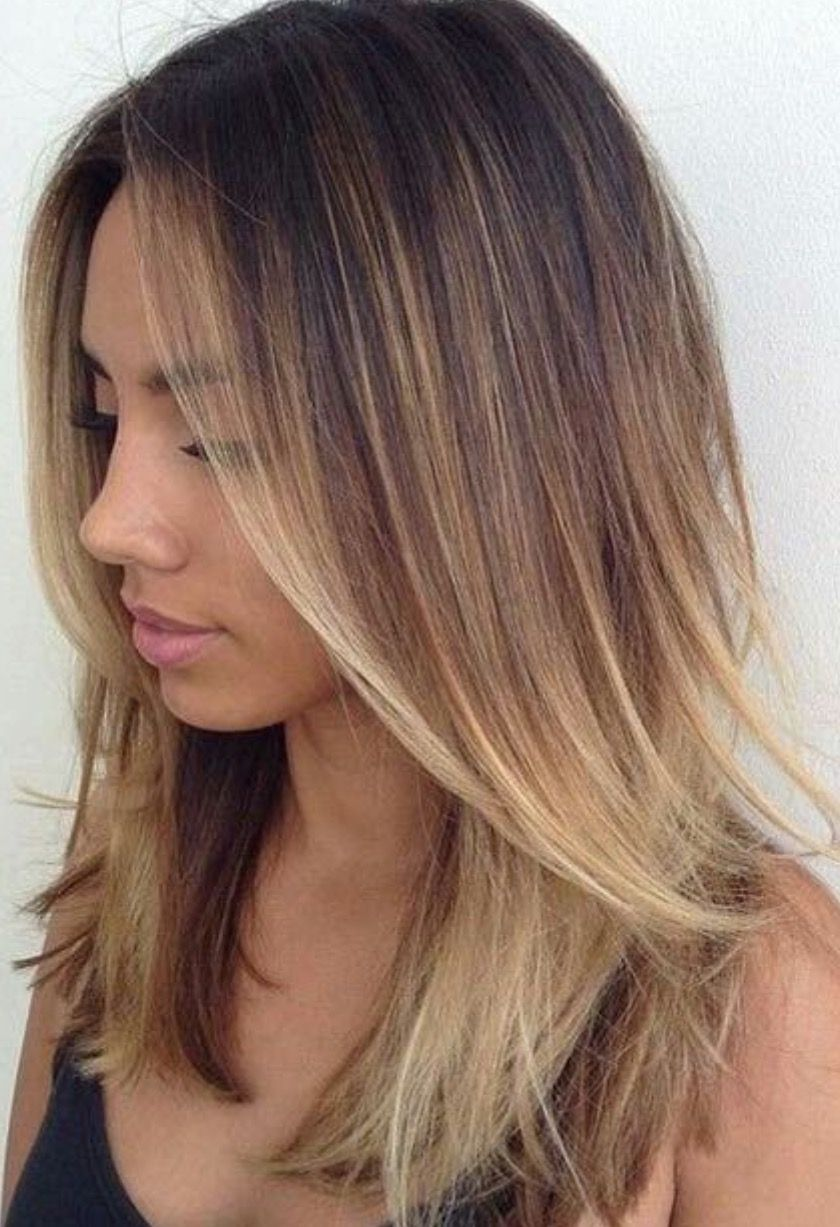 Natural balayage effect hair style mid length modern cut with slight