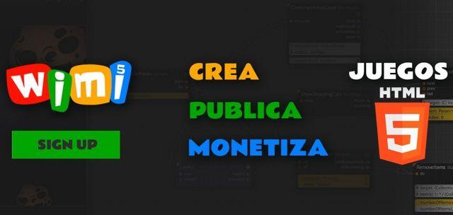Wimi5 plataforma gratis para crear juegos y monetizar.