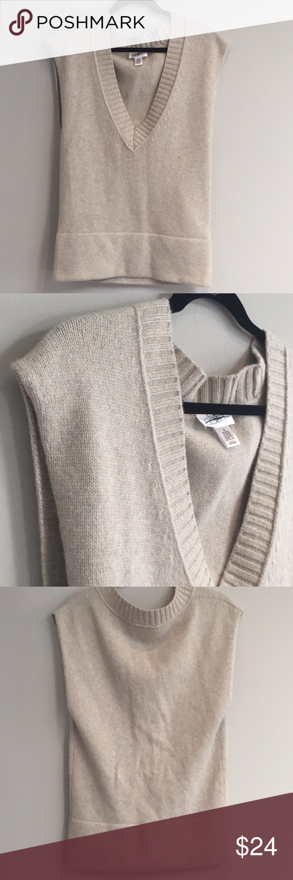 LOFT Oatmeal Oversized Wool Blend Sweater Vest | Angora rabbit ...