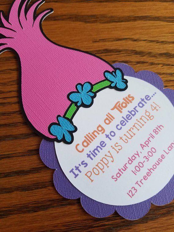 Trolls Birthday Invitation Poppy