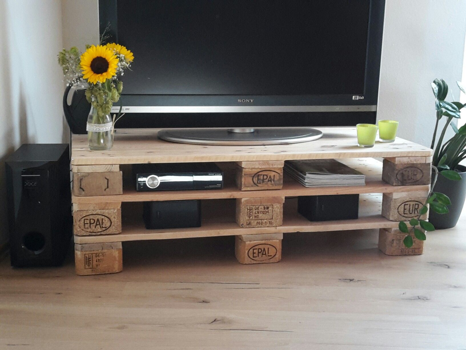 fernsehtisch aus paletten selbst gemacht do it yourself. Black Bedroom Furniture Sets. Home Design Ideas