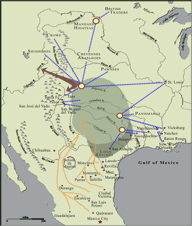 Map Of Comancheria Trade And Raiding Routes American Indian History Native American Tools Native American History