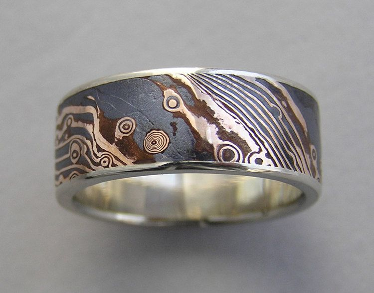 gane trigold unique woodgrain sterling narrow wedding mokume metal ring band rings products silver and