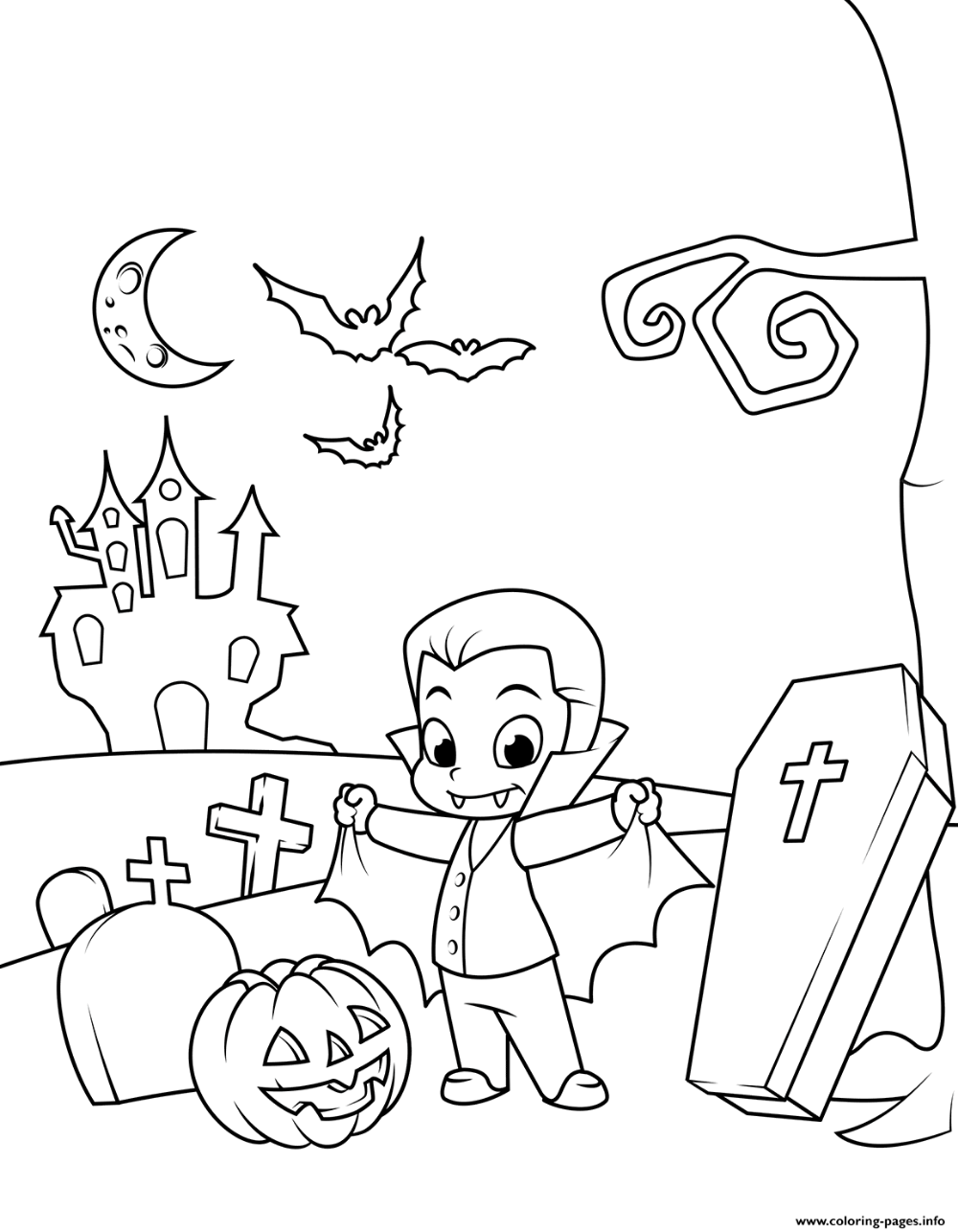 Print Cute Count Dracula In The Cemetery Halloween Coloring Pages Halloween Coloring Pages Halloween Coloring Pages Printable Coloring Pages