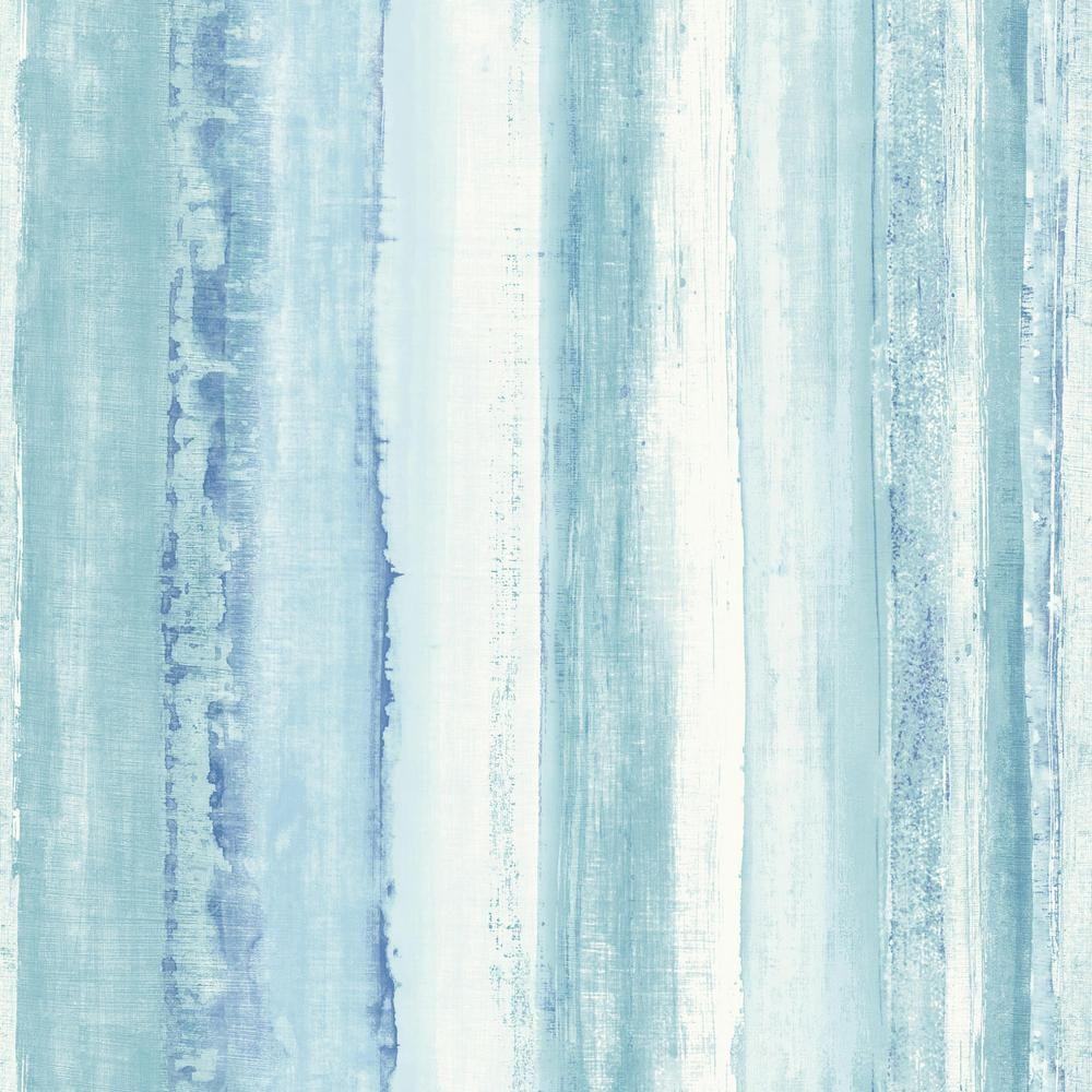 Roommates Blue Watercolor Stripe Vinyl Peelable Roll Covers 28 18 Sq Ft Rmk9061wp The Home Depot Peel And Stick Wallpaper Striped Wallpaper Blue Watercolor