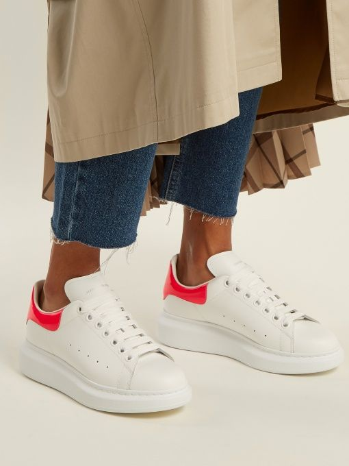 Alexander McQueen Raised-sole low-top leather trainers | s ...