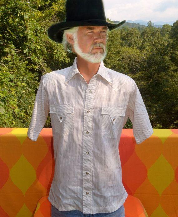 da8b4593 vintage 70's WESTERN shirt pearl snaps short sleeve stripes white brown  Medium fenton rockstar