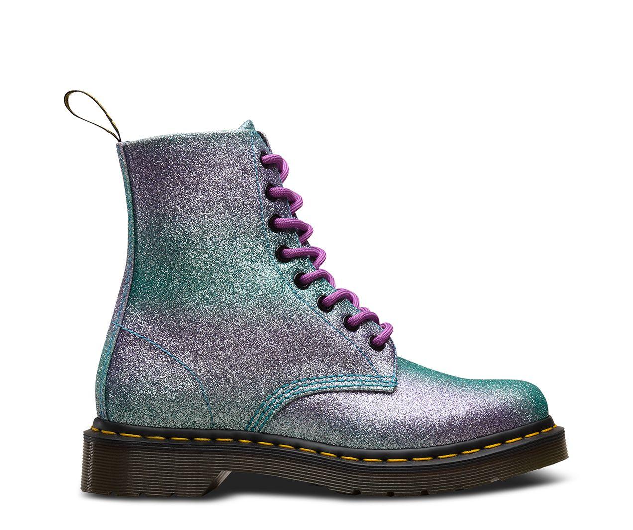 Ladies Dr Martens 1460 8-Eyelet Pascal Turquoise Glitter Boots UK Sizes 4-8 DM