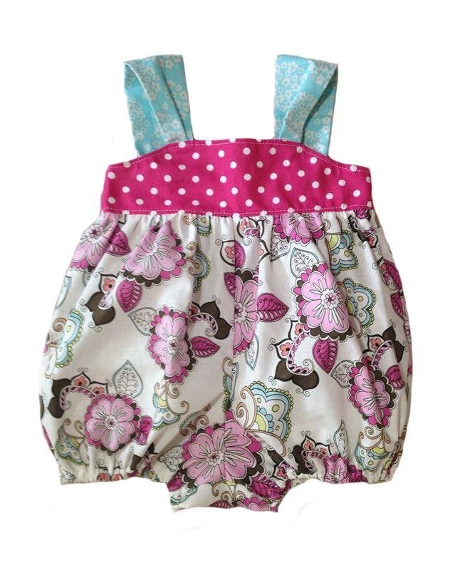 Pink Polka Dots and Floral Girls Bubble Romper Sunsuit by Boutique Elli'Ette 40.95