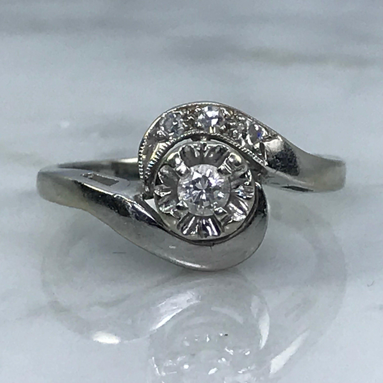 Art Deco Diamond Engagement Ring In 14k White Gold April Birthstone 10 Year Anniversary Gift Vintage Diamond Vintage Engagement Rings 10 Year Anniversary Gift