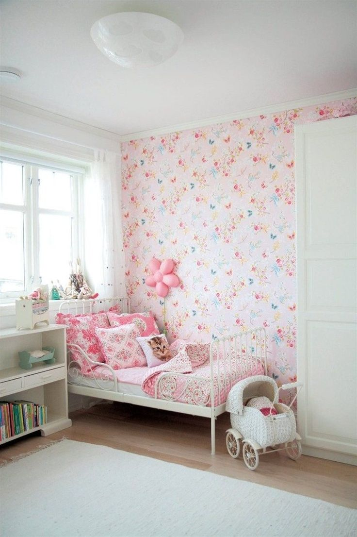 I think I want to wallpaper one wall in Keira's room just like this, then paint the other walls white. Looks so precious!