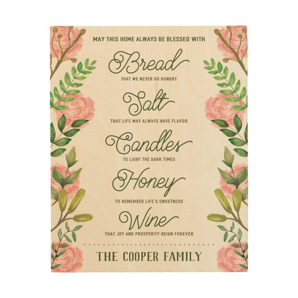 Custom name housewarming bread salt wine quote wood wall