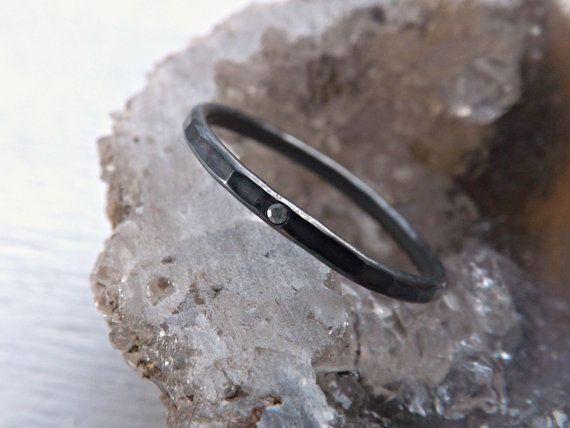fine silver ring with diamond  black silver ring by CrazyAssJD