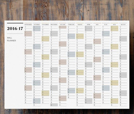 A Mid Year Wall Planner Printable  Large  Calendar