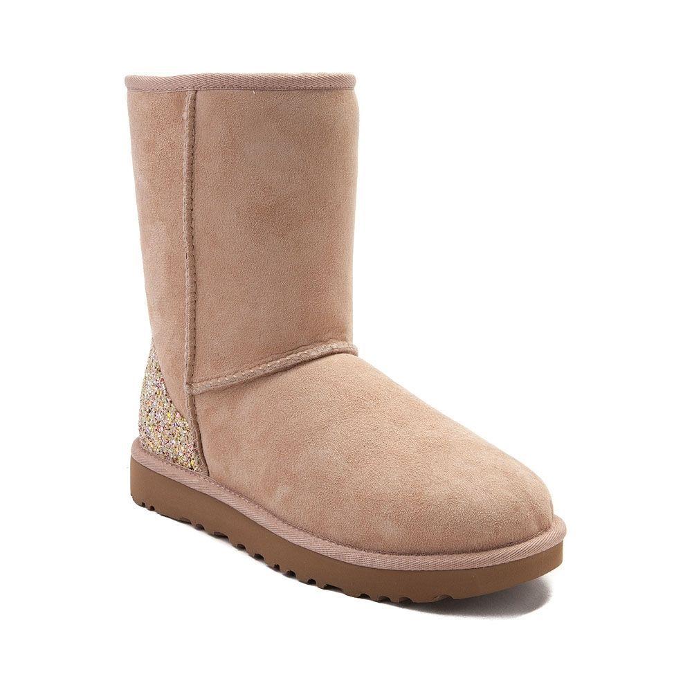 Womens UGG® Classic Short II Glitter Boot - Light Beige - 581728