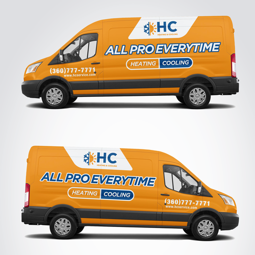 Design A Heating And Cooling Co Wrap In Orange Car Truck Or Van