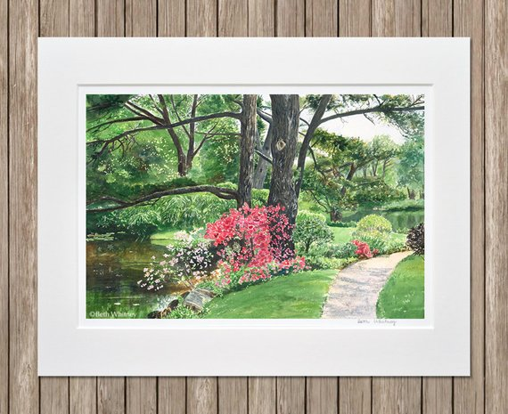 Matted Garden Art Print Pond With Pink Azaleas Rhododendrons