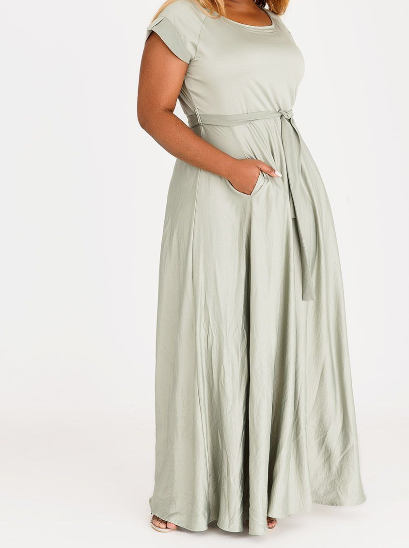 0f5b24e0de8 AMANDA LAIRD CHERRY Katya Satin-like Maxi Dress Mid Green