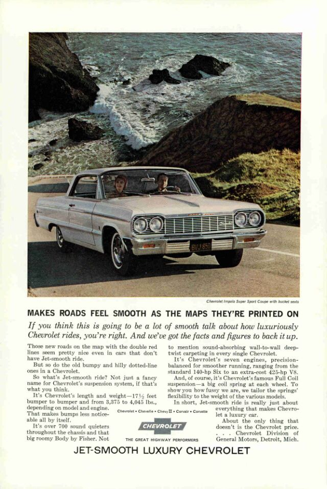 1964 Vintage Ad Magazine Chevrolet Automobile Advertising