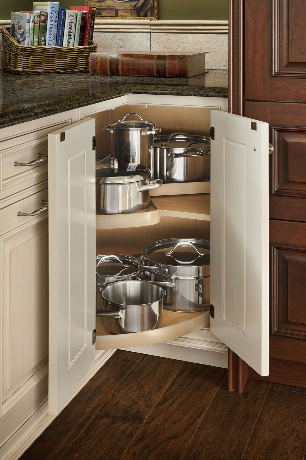 The Third Most Por Interior Storage Feature Requested During Kitchen Updates Is Rotating Shelves Houzz Designtrend Woodmode