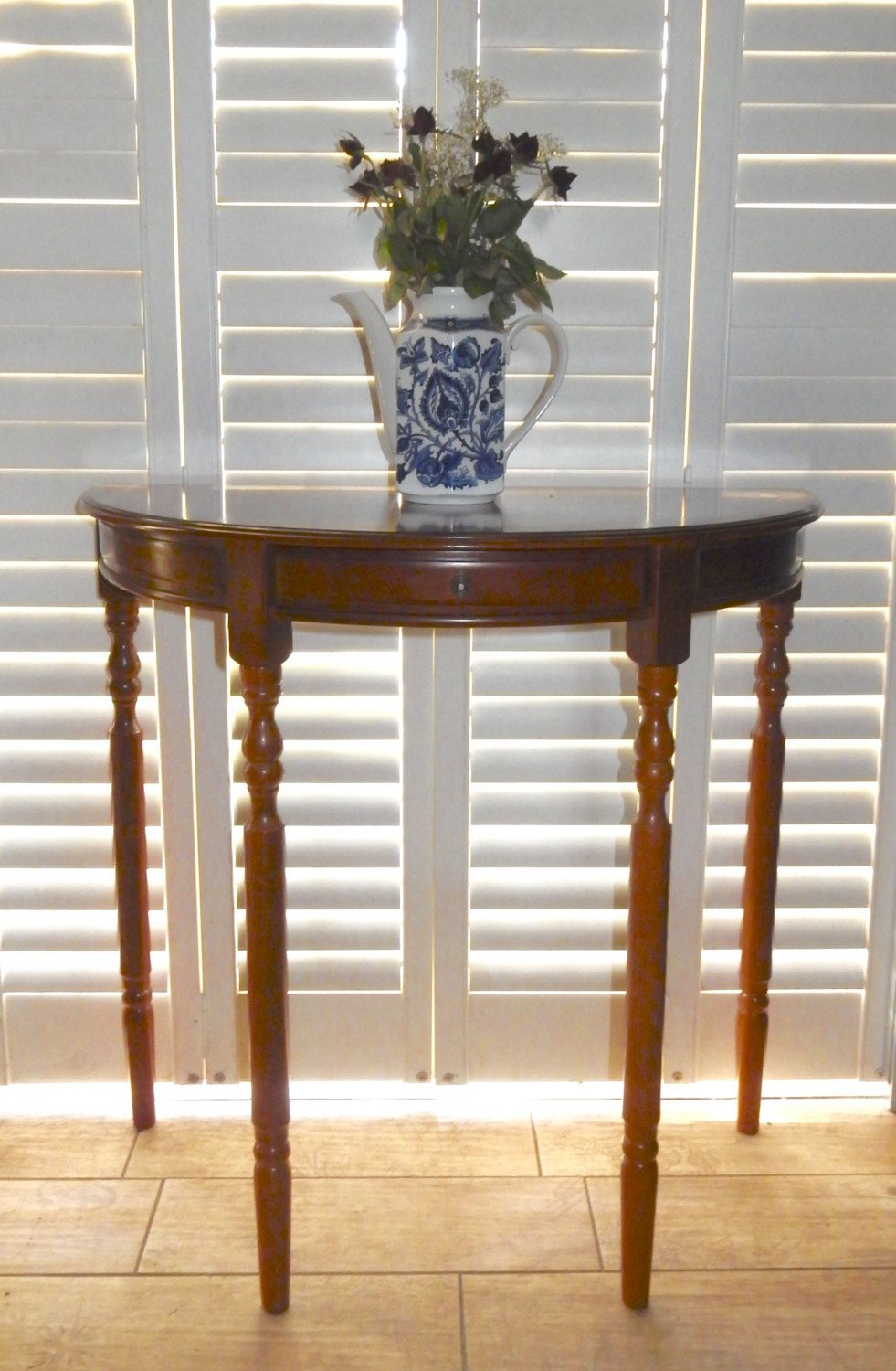 Vintage Side Table Hall Table Lamp Table D Shaped Table Half