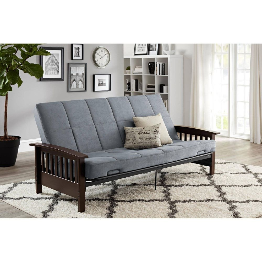 Convertible Futon Sofa Bed Couch Full Size Mattress Solid Wood Arm Furniture New Bhg Futon Sofa Futon Sofa Bed Sofa Couch Bed