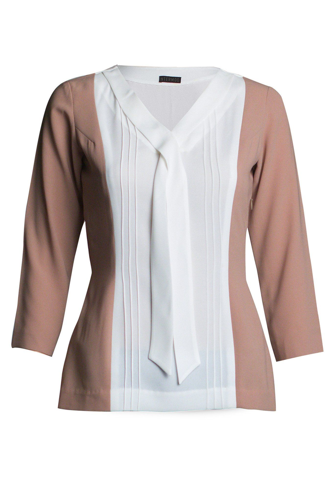 Color block done masterfully in this white and sand coloured blouse. The  vertical paneling creates a slimmer silhouette and the pintucks and tie  details add ... cf4206113a