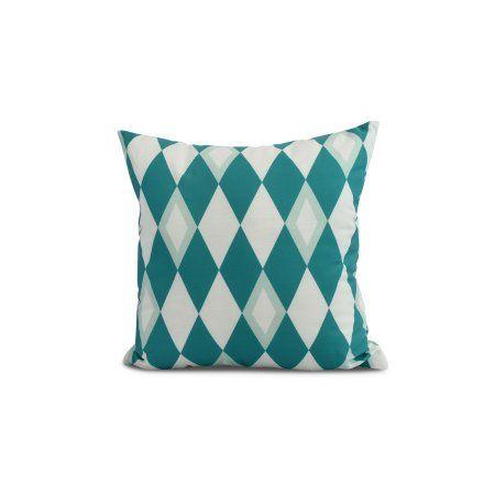 Simply Daisy 16 X 16inch Harlequin Geometric Print Pillow Blue Walmart Com Blue Outdoor Pillows Indoor Throw Pillows Outdoor Pillow Collections