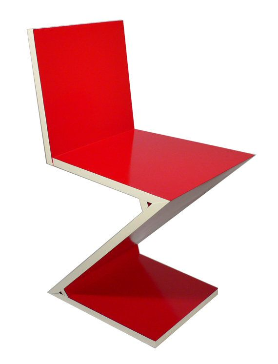 Handmade Reproduction Of Gerrit Rietveld Zigzag Chair C 1934 Bauhaus Van Gogh Museum