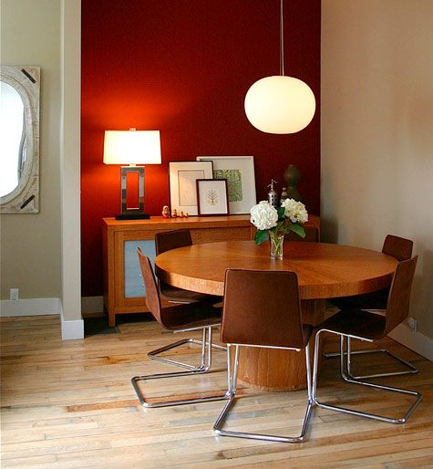 I love a dark red accent wall in the kitchen or dining