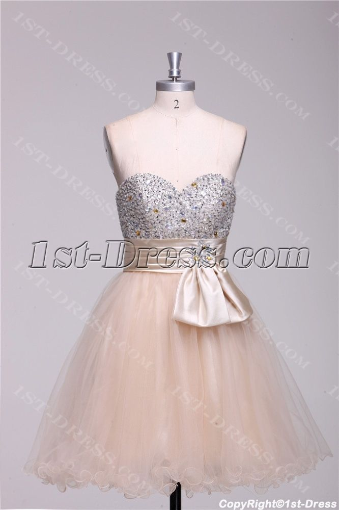 867d76eeef6 Champagne Beaded Short Quinceanera Court Dresses 1st-dress.com