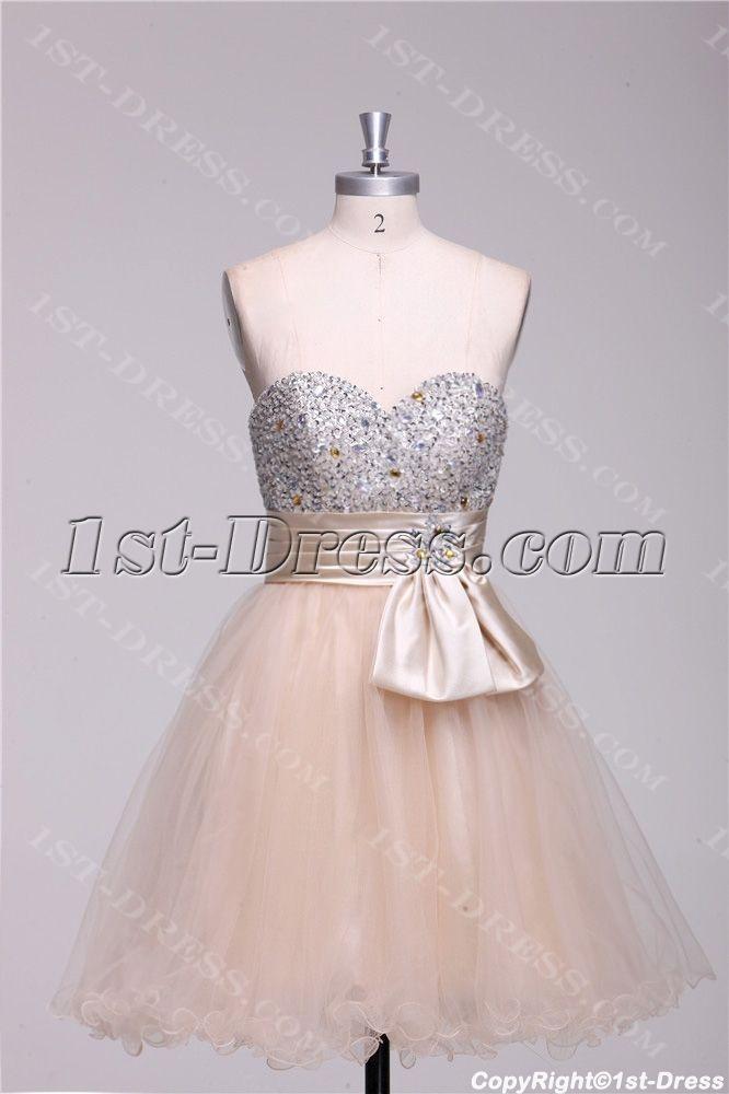 Champagne Beaded Short Quinceanera Court Dresses:1st-dress.com