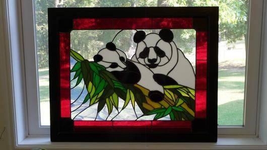 Stained Glass Handmade sitting pandas window decoration