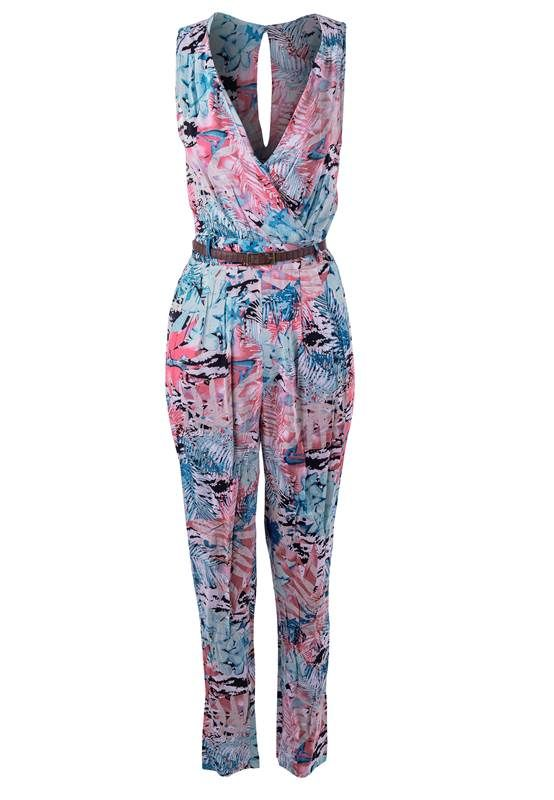 LADIES FITTED SLEEVELESS TROPICAL/LEAF/PALM PRINT WRAP FRONT PLAYSUITS/JUMPSUITS | eBay