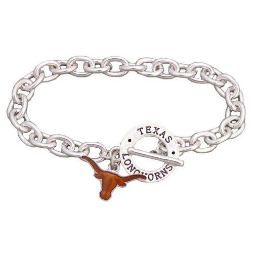 Texas Longhorns Team Name Silver Toggle Charm Bracelet Jewelry