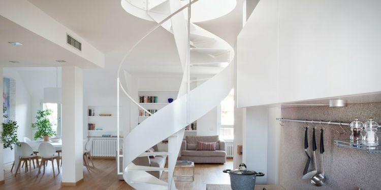 wohnbereich kochzeile wendeltreppe innen stahl weiß glas #interiors - dekorative regale inneneinrichtung
