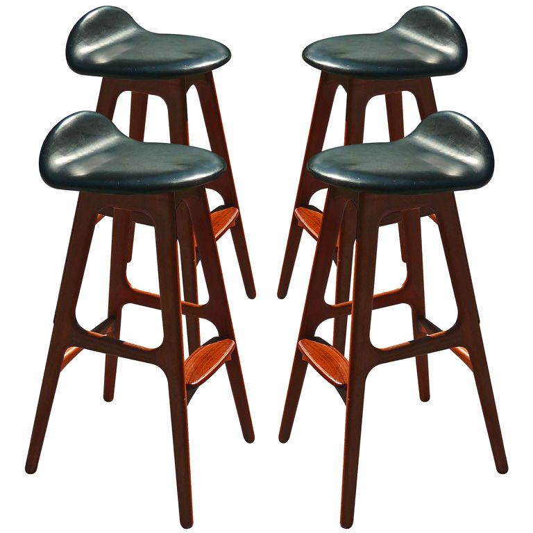 Set Of 4 Danish Modern Rosewood And Leather Stools By Erik