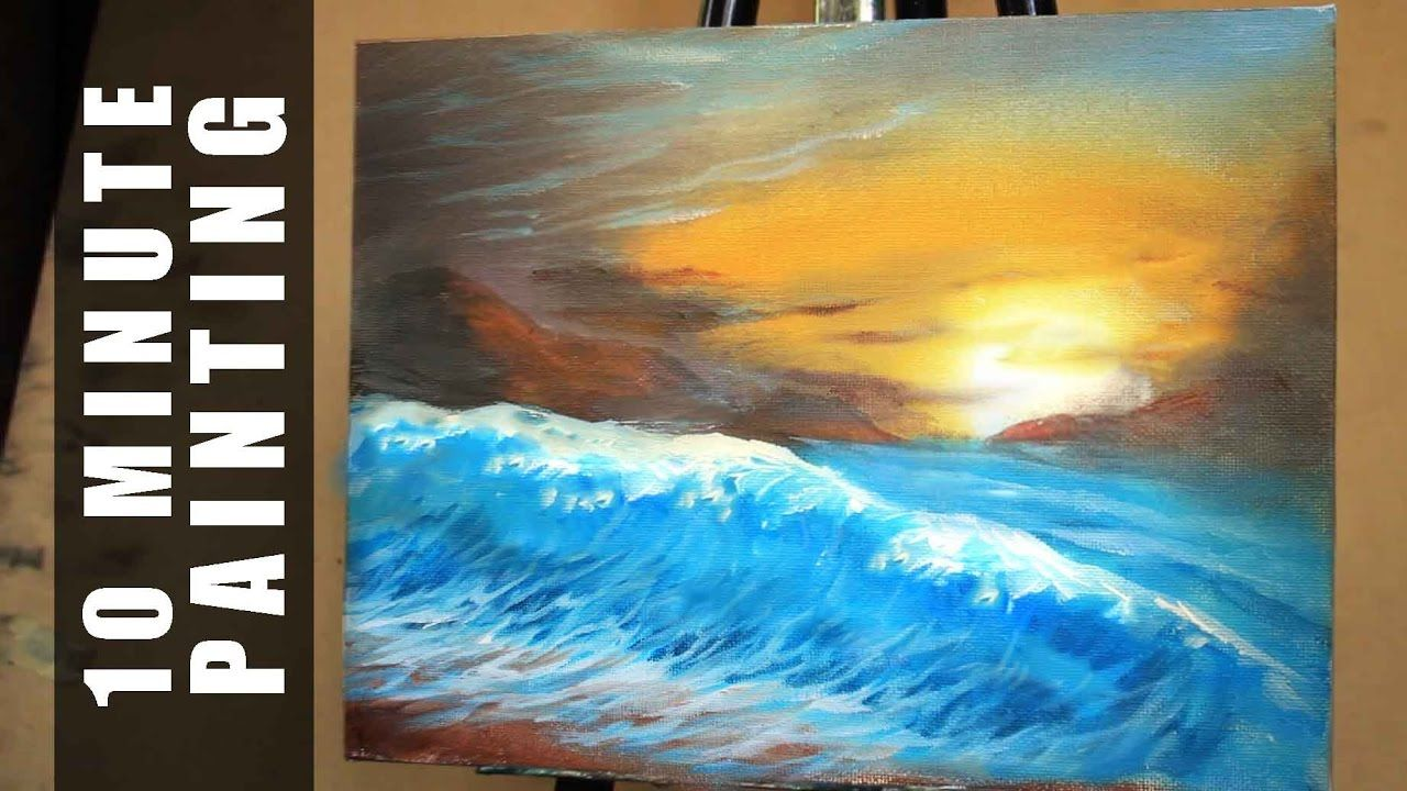 Painting A Large Sunset Beach Wave Landscape With Acrylics In 15
