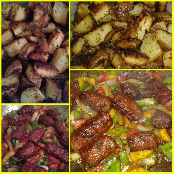 Dinner Tonight ~ Sausage, Peppers + Onions (Maglio's Sweet, Skin off + Seasoned to perfection) with Oven Roasted Potatoes. Mm mm mm. I never cease to amaze myself